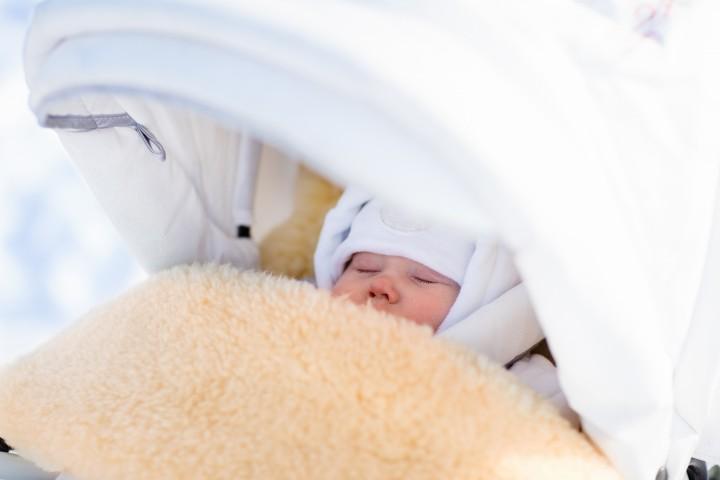 Baby in a Winter Sheepskin Footmuff