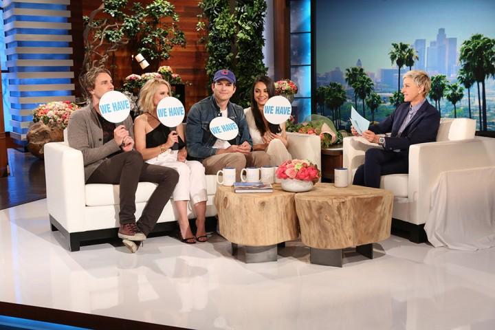 Ellen, Mila Kunis, Ashton Kutcher, Kristen Bell and Dax Shepard